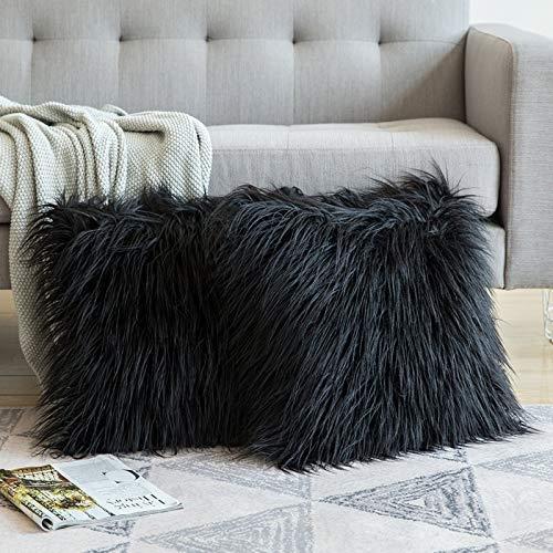 MIULEE Juego de 2 Funda de Almohada Cojines de Piel Decorativos, Cuadrados y Suaves, Cojines PeloPara la Decoración del Hogar Sofá Cama del 18x18, 45 x 45 cm Negro