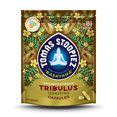 Organic Tribulus Terrestris Capsules | High Strength Testosterone Booster 1200mg | 180 Vegan Capsules (3 Months Supply) | Food Supplement | Rasayana Range | Tomas Stoopiez | Rishi Knows Best!