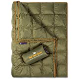 Get Out Gear Double Puffy Camping Blanket - Extra Puffy, Packable, Lightweight and Warm | Ideal for Outdoors, Travel, Stadium, Festivals, Beach, Hammock | Water-Resistant Camp Quilt (Olive/Orange)