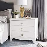 Safavieh Home Collection Hannon 3 Drawer Contemporary Nightstand, White/Brass