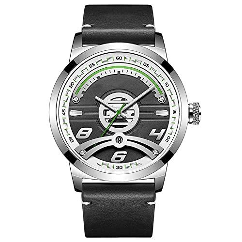 Hombre Reloj, Casual Leather para Hombre De Cuarzocon Correa En, Versátil Moda Casual Impermeable Deportivo Relojes, con Visualización De Calendario, White