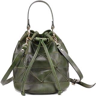 Tussy Women's leather bucket bag multi-function retro handbag large capacity shoulder bag (Color : Green, Size : 19 * 19 * 22cm)