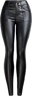 LUKEEXIN Women's Sexy Pu Leather Leggings Slim Skinny Pants