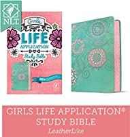 Nlt Girls Life Application Study Bible Leatherlike, Teal/Pink Flowers