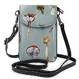 Bolso de cuero ligero de la PU pequeño bolso de Crossbody mini bolsa del teléfono celular bolsa de hombro con correa ajustable bosque de setas recolección partido