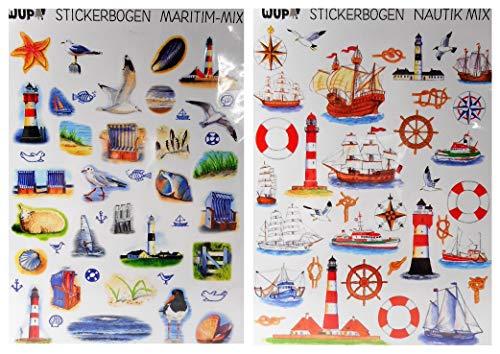 GWUP 2 Stickerbögen Maritim Nautik Mix Aufkleber Schiff Leuchtturm Möwe Deko 37011 14