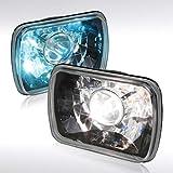 Autozensation 7X6 Crystal Black Clear Square Projector Headlights+H4 Bulbs