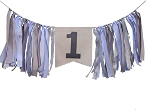 WINGOFFLY First Birthday Burlap Highchair Banner Bunting 1st Happy Birthday Party Decorations Set for Baby, Grey Blue