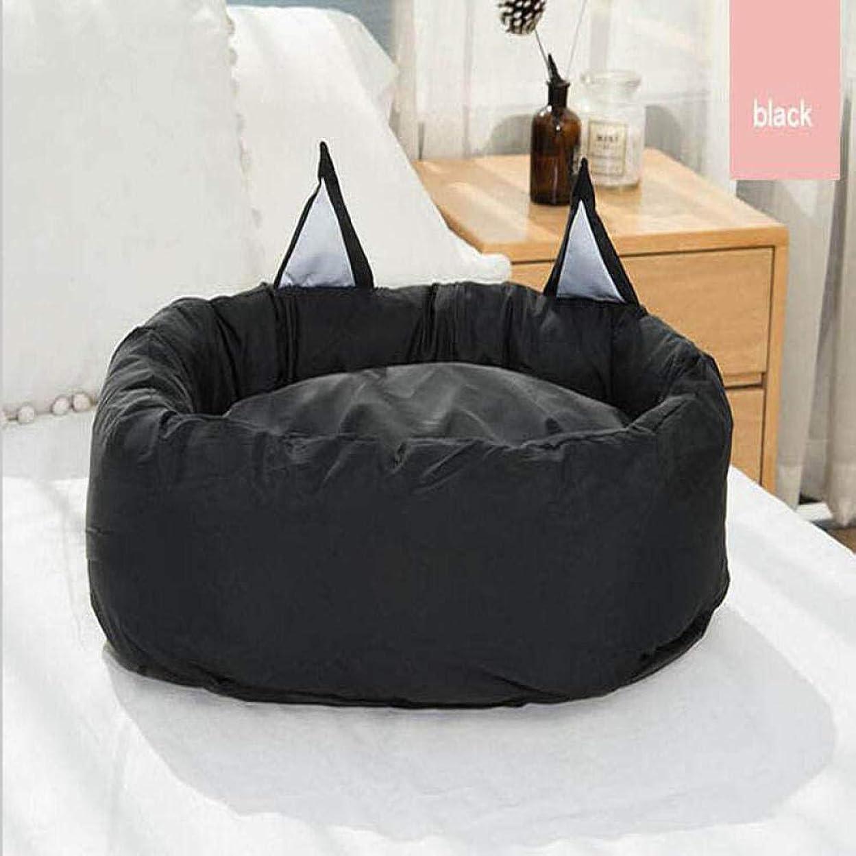 入場徹底通貨ペットハウス 猫の家 ペット猫ベッドかわいい犬小屋マットソファベンチ猫耳子犬子猫ベッドラウンドクッションブラック77X63Cm