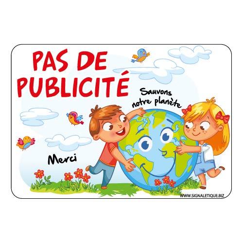 Sticker Pas de Publicité Sauvons la Planète - Dimensions 100 x 70 mm - Protection Anti-UV