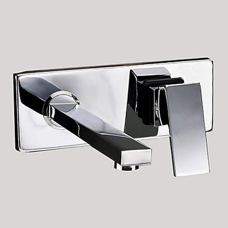 Waschbecken Wasserhahn - Rotary verchromt Wandhahn mit zwei Lchern Einhebel und zwei Lchern