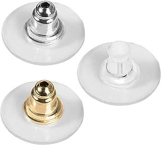 Juego de 150 pares de almohadillas de seguridad para pendientes transparentes y de goma, color plateado, dorado, transparente