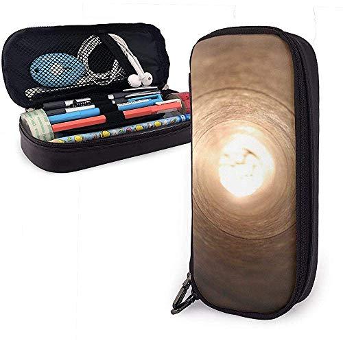 Federmäppchen Lichtschlauch Loch Runde Spirale PU Ledertasche Aufbewahrungsbeutel Tragbare Bleistiftbeutel Reißverschluss Geldbörsen