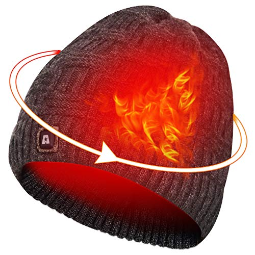 ARRIS Heated Hat, Electric Winter Heated Beanie Hat with Rechargeable Battery for Men Women Black