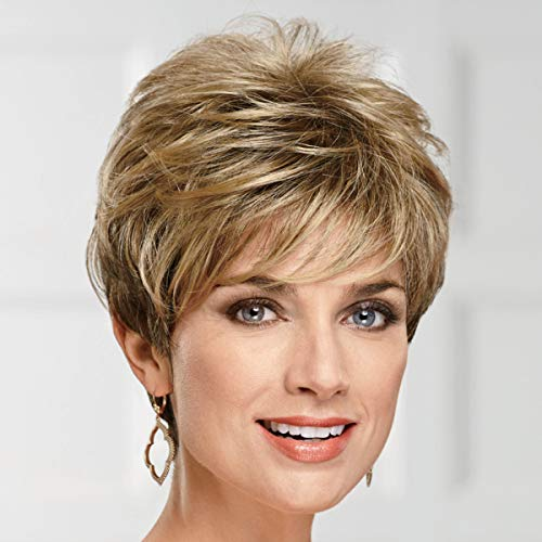 Lauren WhisperLite Wig by Paula Young - Short, Spirited Pixie Wig with Richly Texturized, Piecey Layers and Wispy, Side-Swept Bangs/Multi-tonal Shades of Blonde, Silver, Brown, and Red