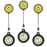 Ertisa Reloj de Enfermera, Juego de 3 Reloj de Bolsillo de Cuarzo con Broche para Colgar, Reloj de Enfermera Resistente al Agua con Silicona para Hombre Mujer Niño Niña médico Enfermeras paramédico