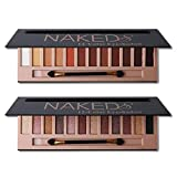 2Pcs Pro 12 Colors Naked Eyeshadow Makeup Palette - Shimmer Matte Pigmented Blendable Diamond Nude Natural Eye Shadow Pallet Kit with Brush(A+B)