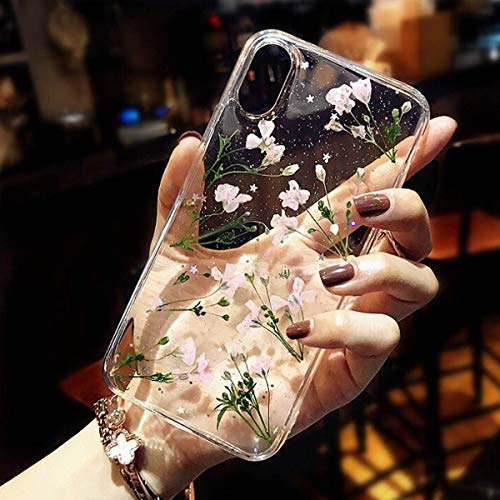 iPhone X/XS Flower Case, Feibili Soft Clear Flexible Rubber Pressed Dry Real Flowers Case Girls Glitter Floral Cover for iPhone X/XS (Pink, iPhone X/XS)