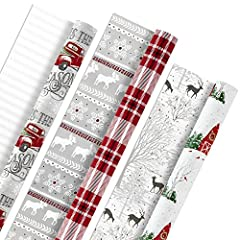 Each roll in this 3-pack of reversible Christmas wrapping paper measures 30 inches wide by 16 feet long for a total of 40 square feet per roll. 120 total square feet in the set. Includes 3 rolls of reversible wrapping paper, Each featuring 2 holiday ...