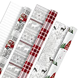Hallmark Holiday Reversible Wrapping Paper Bundle, Rustic Christmas (Pack of 3, 120 sq. ft. ttl) Pla