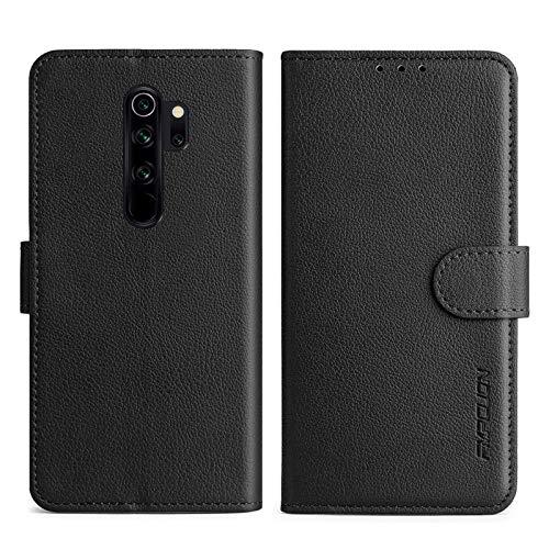 FMPCUON Handyhülle Kompatibel mit Xiaomi Redmi Note 8 Pro Hülle Leder PU Leder Tasche,Flip Hülle Lederhülle Handyhülle Etui Handytasche Schutzhülle für Redmi Note 8 Pro,Schwarz