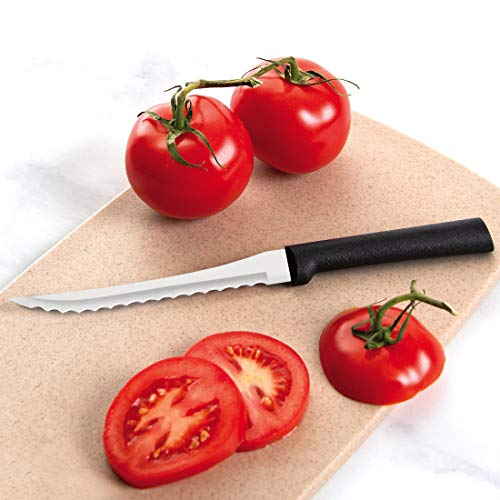 Rada Cutlery Tomato Slicing Knife Blade Stainless Steel Resin Made in the USA, 8-7/8 Inches, Black Handle