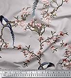 Soimoi Grau Cotton Cambric Stoff Blumen & Paradise Whydah