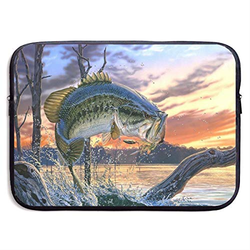 Gao808yuniqi Fishing Bass Mouth Laptop Sleeve Shoulder Bag for Women, Protective Carrying Case Compatible with 13-15 Inch MacBook Pro, Air, Notebook,Slim Sleeve