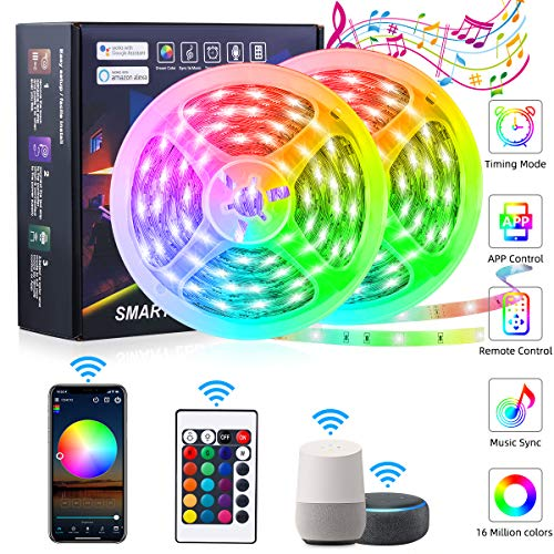 WiFi RGB LED Strip 20m, GREPRO Smart Alexa LED Band, App-steuerung,...