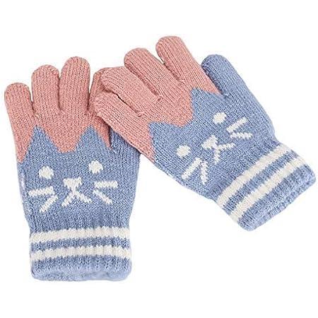 Gants en Laine avec Ficelle- Ours Mignon Manyo Moufles Enfants Hiver Gants Chauds Epaisses Gants dhiver pour Enfants Unisex 0-3 ans