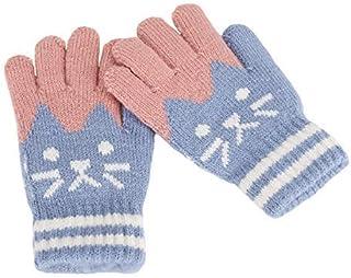 Gants Tricot/é Laine Hiver Mitaines Convertible Magique Moufles Doux Chaud Motif Radis Mignon Gants Demi-doigts de Moto Ski Snowboard Cyclisme Gloves pour Gar/çons Filles