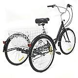 Triciclo para adultos, 6 velocidades, 8 velocidades, bicicleta para adultos + cesta de luz, carga máxima 110 kg, 165 cm x 66 cm, color negro