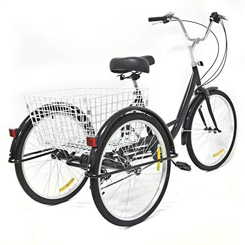 Tricycle - Triciclo per adulti, 24 pollici, 8 marce, 3 ruote, per anziani, anziani, tempo libero, triciclo, con grande cestino nero, unisex, per anziani, sicuro e stabile, regalo per genitori
