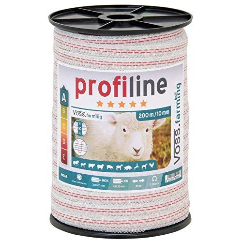 VOSS.farming Ruban de clôture électrique 200 m 10 mm conducteur 3 x 0,2 mm Acier Inoxydable + 1 x 0,3 cuivre Fil câble clôture Cheval chèvre Mouton Poney