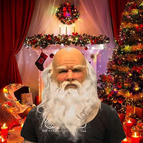popchilli Máscara de Papá Noel, Sombrero De Papá Noel, Cubierta De La Cabeza del Abuelo De Navidad, Decoración, Sombrero De Látex para Adultos, Accesorio De Cospaly