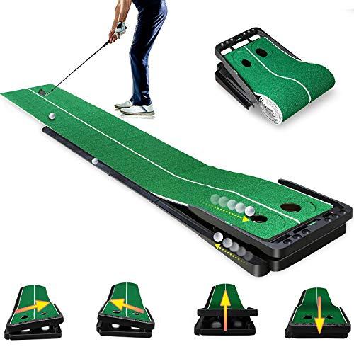 Qdreclod Tappetini Putting da Golf Attrezzatura da Allenamento da Golf con Funzione di Ritorno Automatico della Sfera per l'home Office al Coperto all'aperto (Verde 3M X 0.5M)