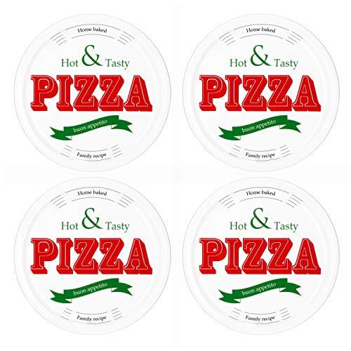 MamboCat 4-er Set Pizzateller Hot & Tasty Ø 30cm große weiße Teller aus Steingut zum Anrichten für Pizza und Co oder als Steingutplatten zum Servieren von Wurst und Käse I Pizza Teller mit Motiv