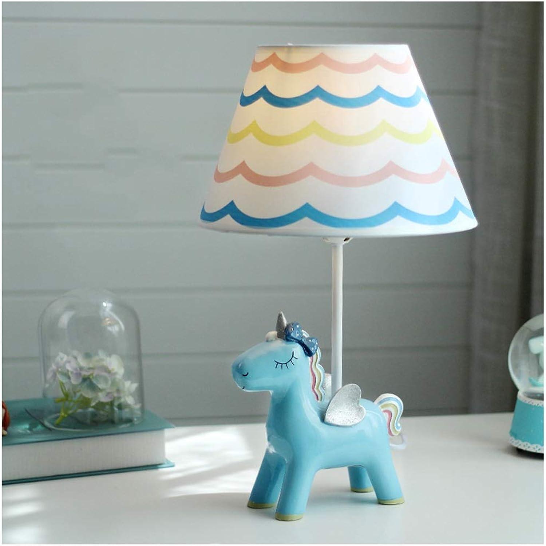 YYF Unicorn Kinderzimmer Tischlampe Regenbogen-Augenpflege warme kreative Karikatur Romance (Farbe   Blau-25cmx42.5cm)