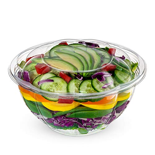 [50 Sets] 32 oz. Plastic Salad Bowls To-Go With Airtight Lids, Disposable Salad Containers