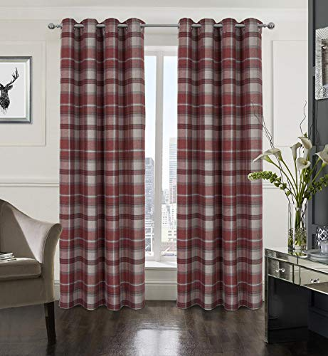 Alexandra Cole Plaid Tartan Check Modern Classic Window Treatment Curtain/Drapes for Living Room 2 Panels Red 45X95 Inch