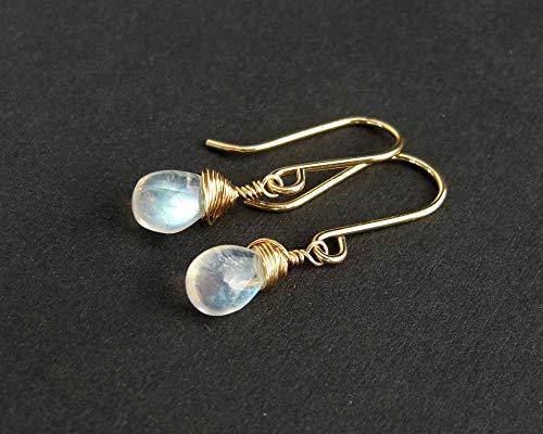 Kleine Mondstein Tropfen Ohrringe, goldfilled, Sterling Silber, umwickelte Edelsteine, kleine Ohrringe, Hängeohrringe