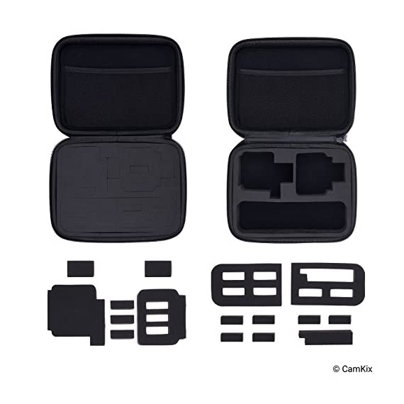 CamKix Case Compatible with GoPro Hero 7 / 6 / 5 Black - Perfect for Travel and Storage - Versatile EVA Interior with… 4 TRAVEL + STORAGE CASE: Keep your GoPro Hero 6 / 5 camera and accessories organized, dust-free and protected inside this case. Grab & Go when you're ready to shoot some spine-chilling action. Store it, when you're not. FOR GOPRO HERO 7/6/5 AND ACCESSORIES: This case is designed specifically for the GoPro Hero 5 Black camera. Tailor made, fits perfectly. The elastic mesh pocket and extra compartments are ideal to store flat mounts, quick release buckles, thumb screws, USB cable, memory cards, etc. VERSATILE INTERIOR: You can remove/add parts of the high quality EVA material to create different interior layouts for various purposes (see pictures for examples). Any interior layout you create will fit your GoPro Hero 5 camera and accessories seamlessly. The shock-absorbing padding provides extra protection to your camera and other equipment stored inside the case.
