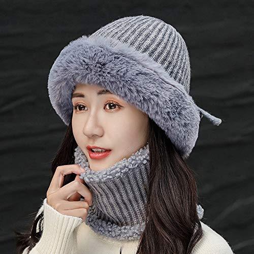H/A Gorro grueso de lana de invierno cálido para mujer coreana de princesa salvaje sombrero de...