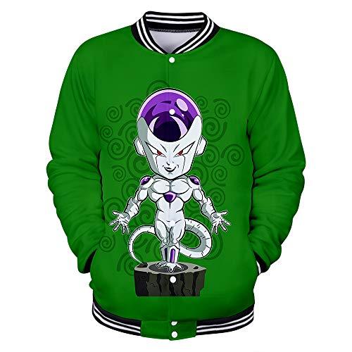 Hengye Technology Baseballuniform für Herren und Damen, Bomberjacke mit Dragon Ball-Print, Slim-Sweatshirt mit Rundhalsausschnitt, 100%...