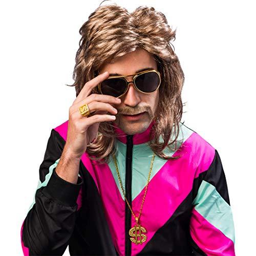 NET TOYS Protziges Kostüm-Zubehör-Set mit Brille, Kette & Ring Proll | Goldfarben | Universelle Männer-Accessoires Dollar-Zeichen | Bestens geeignet für 90er-Party & Mottoparty