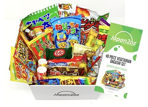 Dagashi-Box Japanisches Süßigkeiten- und Snack-Sortiment Vegetarisches mit 40 Stück