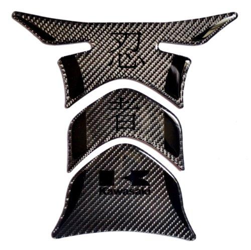 RZ Moto Kawasaki Ninja Stealth Effect Real Carbon Fiber with Kanji Tank Protector pad Decal Sticker