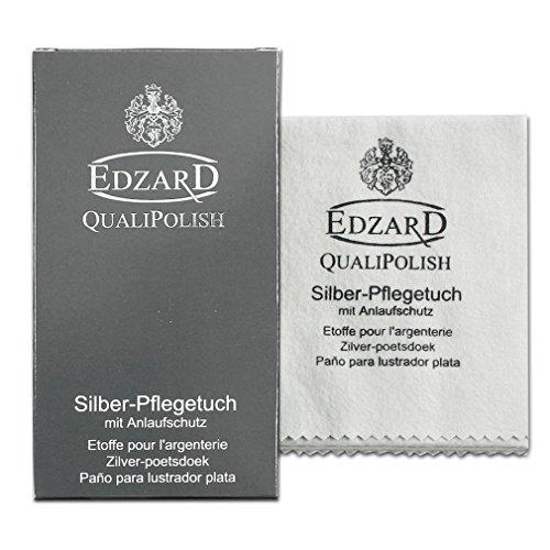 EDZARD QualiPolish® Silber-Pflegetuch, Silberputztuch für Schmuck, Besteck und Wohnaccessoires, Baumwolle, Größe 30 x 45 cm