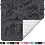 Gorilla Grip Original Luxury Chenille Bathroom Rug Mat, 24x17, Extra Soft and Absorbent Shaggy Rugs, Machine Wash Dry, Perfect Plush Carpet Mats for Tub, Shower, and Bath Room, Charcoal