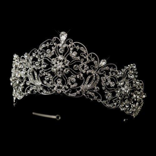 Carly Antique Style Clear Rhinestone Bridal Royal Wedding Tiara by Elegance by Carbonneau
